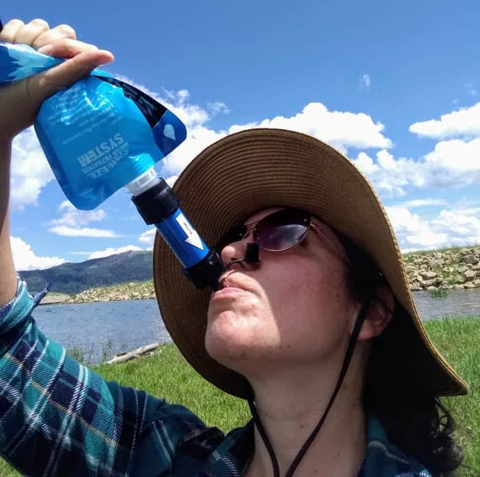 Drinking through the Sawyer Mini.